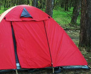 Red canvas tent for camping
